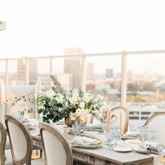Table with a view at this elegant, Sophisticated city wedding in Atlanta, GA. See more Atlanta wedding inspiration and wedding ideas from the Chancey Charm Atlanta Photo Gallery. Destination Wedding Planner, Wedding Coordinator, Wedding Planning, Atlanta Wedding Venues, Wedding Vendors, Weddings, Wedding Table Decorations, Table Centerpieces, Georgia Wedding