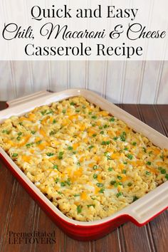 Quick and easy Gluten-free Chili, Macaroni and Cheese Casserole recipe. This recipe uses Horizon Gluten-Free Macaroni & White Cheddar Cheese to speed up dinner prep.