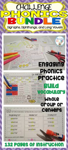 This challenge phonics bundle will focus on the specific phonics sounds while using more challenging words to engage your audience of 2nd and 3rd graders (Can also be used for your high-flying 1st graders). I have chosen words that are richer in VOCABULARY content and have MULTIPLE syllables! No more using basic words such as ship, time, and out to teach your phonics skill! What will be included in your packet? 4 activities PER PHONICS SOUND = 132 pages of phonics instruction! ** Long…
