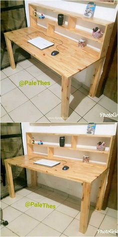 Delightful DIY Wood Pallet Home Furniture Designs If you don't need an extra study desk table. Diy Wood Desk, Pallet Desk, Wooden Pallet Projects, Wooden Pallets, Pallet Furniture, Furniture Projects, Home Furniture, Furniture Design, Diy Projects