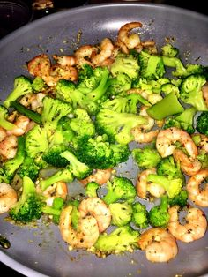 late night broccoli, garlic + shrimp pasta - quick dinner and perfect for two people!