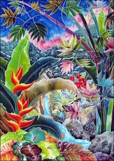 Lush Jungle Waterfall - Hand-Painted - Tapestry