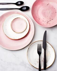 Suite One Studio Rose and White Dinner Plates with Gold Splatters