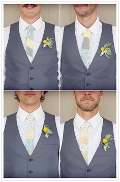 homemade ties and simple boutonniere