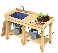 garden potting bench with sink More