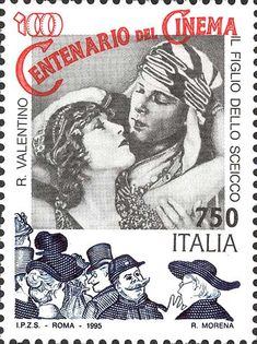Stamp: Italian Films- Rudolph Valentino (Italy) (Italian Films) Mi:IT 2216 Rudolph Valentino, Going Postal, Stamp Printing, Love Stamps, Small Art, Silent Film, Stamp Collecting, Postage Stamps, Prints