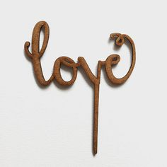 Cake topper bois mariage love calligraphie
