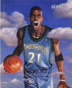 "paperink id: ads150 Kevin Garnett KG Basketball Player got milk? Dairy Promotion Ad 2002 ORIGINAL PERIOD Magazine Advertisement measuring approximately 9.75"" x 12"" AD is in Very Good Condition as show"