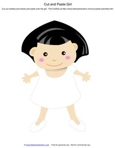 Dressup Cut and Paste Girl with Black Hair http://www.kidscanhavefun.com/cut-paste-activities.htm #cutandpaste #worksheets #kidsactivities