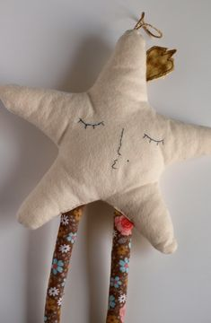 Star decoration Christmas star decor star plush Beige star ornament with legs Hanging ornament Embroidered star under twenty Star nursery