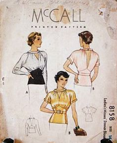 mccall blouse 8158 - would be a cute vintage redraft. Vintage Dress Patterns, Blouse Vintage, Vintage Tops, Clothing Patterns, Vintage Designs, Blouse Patterns, Vintage Style, Retro Fashion, Vintage Fashion