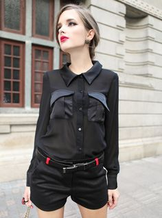 Black Hit-Color Pocket Long Sleeve Chiffon Shirt