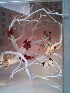 butterflies for front display window...hanging with red hearts for February?