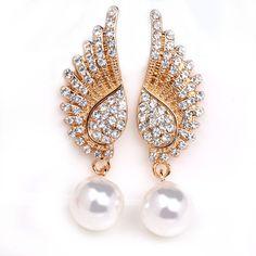 2016 new big earrings for women imitation pearl drop earrings rhinestone long…