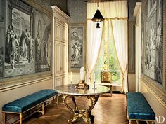 Pierre Berge's apartment on Rue Bonaparte in Paris. A Louis XV marble-top table anchors the entrance hall, which is lined in antique Dufour et Cie grisaille panels that Studio Peregalli framed with hand-painted paper borders. Photo by Pascal Chevallier. Antique Interior, French Interior, Classic Interior, Antique Decor, French Decor, Architectural Digest, Interior Architecture, Interior And Exterior, Famous Interior Designers