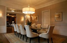 cosmiccowgirl: Giannetti Home - Restoration Hardware tufted Martine chairs, trestle dining table, ...