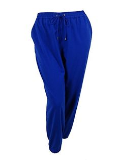 Michael Kors Womens WideLeg Jogger Pants 2X Royal ** Click on the image for additional details.