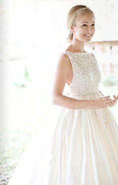 sequined boatneck empire waist wedding dress