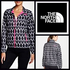 """North Face Graphic Print Jacket  NEW WITH TAGS   THE NORTH FACE Retail Price: $80 Graphic Jacket   * Lightweight printed fabric w/mesh lining.  * It measures about 25"""" long.   * Stand-up collar, front zip closure, side zip pockets, & long sleeves.  * Graphic logo on front, internal pocket w/cord guide, & water repellent finish.  * Contrasting color details.    Fabric: Nylon blend Color: Black Print W/Fuschia Pink   Item:   No Trades ✅ Offers Considered*✅  *Please use the blue 'offer' button…"""