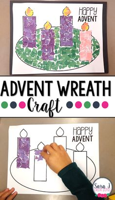 """Advent Wreath Rip Art Project   Looking for an Advent wreath project for your Sunday school class religious school setting Catholic school or even for your children at home? I've got a fun one for you. Download the printable and have students use the """"rip art"""" technique to fill in the calendar. They can light a flame each week during Advent or finish the whole project at one time. Head to my blog for full directions and the free printable.  Download your Advent Wreath printable HERE  3-5…"""
