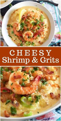 A classic Southern dish you can make at home in minutes, Cheesy Shrimp and Grits is a creamy, comforting bowl of happy. Cheesy grits are to. Cheesy Grits, Shrimp N Grits, Southern Shrimp And Grits, Charleston Shrimp And Grits Recipe, New Orleans Shrimp And Grits Recipe, Shrimp Dishes, Fish Recipes, Healthy Seafood Recipes, Recipies