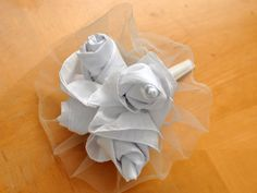 DIY bride or bridesmaid idea - Making a Wedding Hankie Rose Bouquet - can be used for bouquet toss or a gift idea
