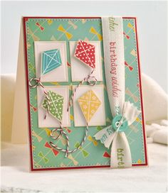 Love this Kite card by Debbie Olsen- Making Cards from Scraps and Sketches | Ella Publishing Co.