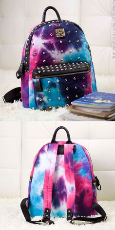 A cool and strong backpack ! Unique Rivet Galaxy Backpack School Bags #galaxy #rivet #backpack #bag