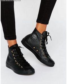 uk availability eb741 f7656 black high top converse womens Converse Leather Shoes, Black Converse,  Converse Noir, Black