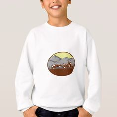 Car being towed Away Mountains Oval Woodcut Sweatshirt