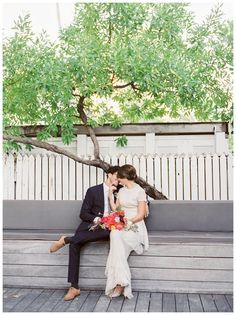 Photo inspiration: Romantic bride and groom on a bench, image by Gianny Campos Photography.