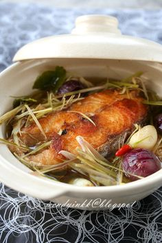 Table for or more: Claypot Lemongrass Fish - Fish Claypot Recipes, Fish Recipes, Seafood Recipes, Asian Recipes, Cooking Recipes, Indonesian Recipes, Ethnic Recipes, Asian Cooking, Cooking Fish