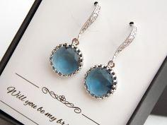 Navy Blue Earrings Bridesmaid Earrings Cubic Zirconia by MleBridal