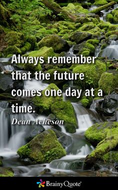 Always remember that the future comes one day at a time. - Dean Acheson