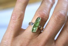 Peridot Sterling Silver and 18k Gold Ring, Vertical Bar Green Stack Ring, Handmade Greek Jewelry, Women Ring, August Birthstone, Gift Ring Vertical Bar, Golden Ring, Peridot Stone, Greek Jewelry, Gold And Silver Rings, Green Gemstones, Bracelet Sizes, Stacking Rings, Stone Rings