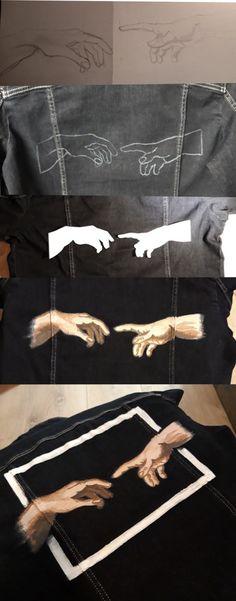 Michelangelo' creation - Voleta P. Michelangelo' creation - Voleta P. Painted Denim Jacket, Painted Jeans, Painted Clothes, Diy Clothes Paint, Painted Wood, Michelangelo, Kawaii Clothes, Diy Clothing, Custom Clothes