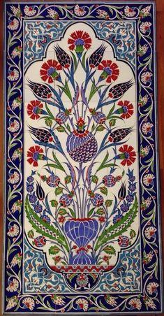 60x120cm Iznik Floral Art on Ceramic For wall
