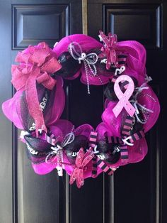 Breast cancer wreath with Deco Mesh