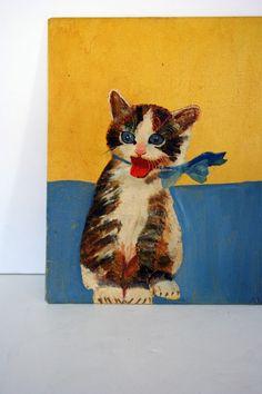 vintage cat folk art oil painting
