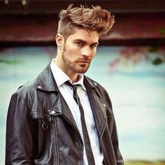The 20 Most Stylish Haircuts for Men Men's Leather Jacket, Leather Jeans, Leather Jackets, Stylish Haircuts, Haircuts For Men, Hair And Beard Styles, Hair Styles, Leather Fashion, Mens Fashion