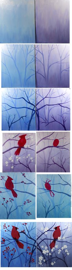 Spring and Winter Cardinal Process Painting - Easy  Colors: White, blue, Red, Yellow Brushes: Big flat, medium and small round