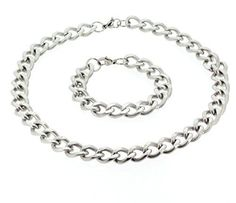 Edforce Stainless Steel Statement Link Necklace and Bracelet Set - Stainless Steel