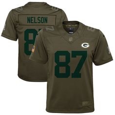 c0c3216d1 Jordy Nelson Green Bay Packers Nike Youth Salute to Service Game Jersey -  Olive. Nfl ...