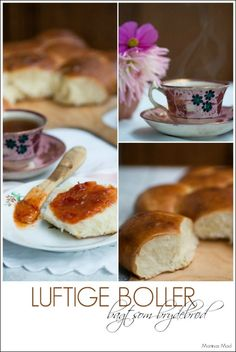 Opskrift på lette luftige boller | Marinas mad Cakes And More, Hamburger, French Toast, Food And Drink, Sweets, Baking, Breakfast, Recipes, Breads