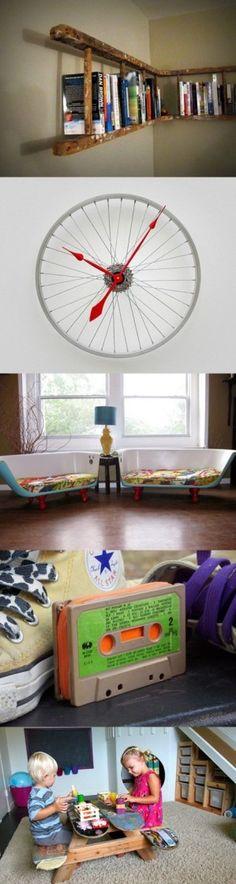 These are great- ladder shelf, bike wheel clock, bathtub sofas. Fab!
