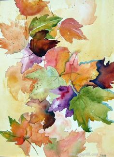 Watercolor+Leaves | Let's use all three of these ideas! A painting done with a wet brush ...