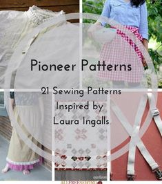 Sewing Patterns Easy Pioneer Patterns: 21 Sewing Patterns Inspired by Laura Ingalls - If there's one thing we love at AllFreeSewing, it's any kind of vintage sewing pattern, from bohemian and disco patterns of the to delicate and rich fabrics and Apron Pattern Free, Tunic Sewing Patterns, Bonnet Pattern, Vintage Sewing Patterns, Clothes Patterns, Pants Pattern, Dress Patterns, Vintage Apron Pattern, Outfits