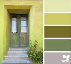 Design Seeds: a door green Colour Pallette, Colour Schemes, Color Combos, Green Palette, Design Seeds, Palette Verte, Creative Colour, Color Stories, Color Swatches
