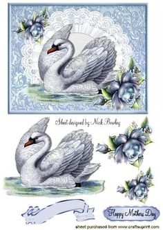 BEAUTIFUL VINTAGE SWAN ON LACE WITH BLUE ROSES on Craftsuprint designed by Nick Bowley - BEAUTIFUL VINTAGE SWAN ON LACE WITH BLUE ROSES, Makes a pretty card, lots of other swans to see - Now available for download!