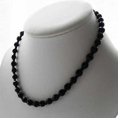 Glass beads adore this original French Jet vintage necklace 1930s to 1940s faceted black vintage bead necklace can be worn today for any occasions